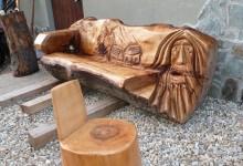 Drevená umelecká lavica