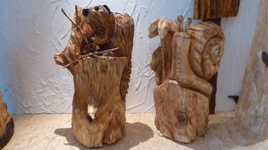 drevený bobor a slimák
