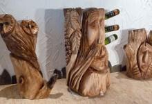 Stoján na víno z dreva,umelecký