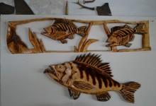 Drevený obraz ryby