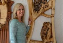Drevený obraz na stenu-sovy