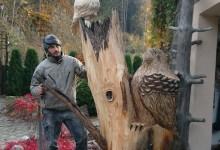 Drevená socha do záhrady-orol,sova