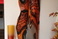 Drevené zrkadlo sovy na stenu