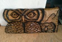 Drevený obraz sovy na stenu