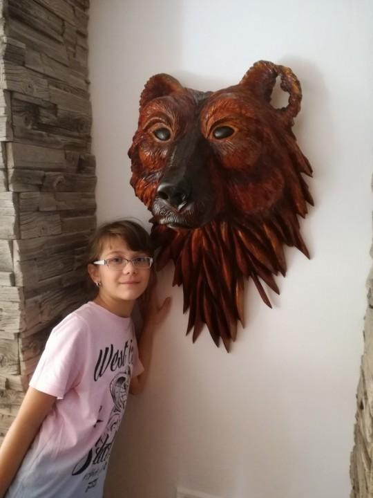 Hlava medveďa,topoľové drevo