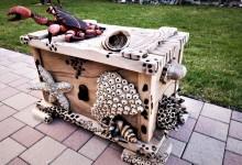 Drevená truhlica na alkohol (drevo orech)